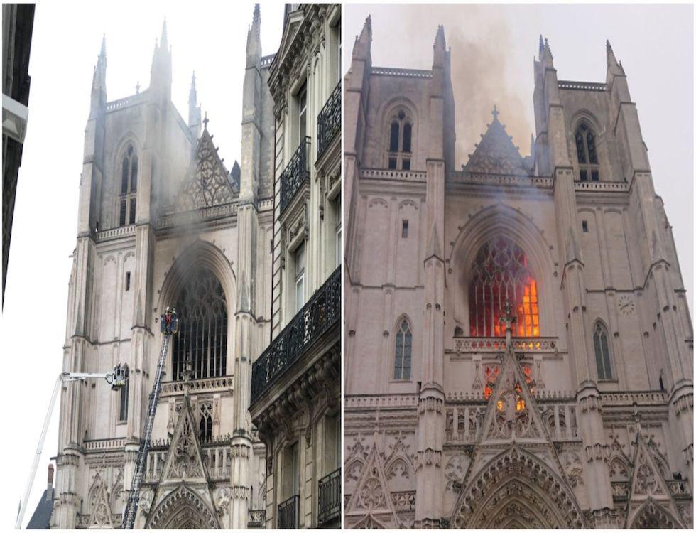 Un terrible incendie ravage la cathédrale de Saint-Pierre et Saint Paul de Nantes (C) capture d'écran