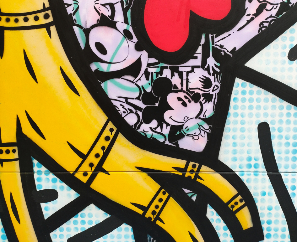Détail d'une fresque de Speedy Graphito, fresque 13 au Clos du Chêne /  © E.V.