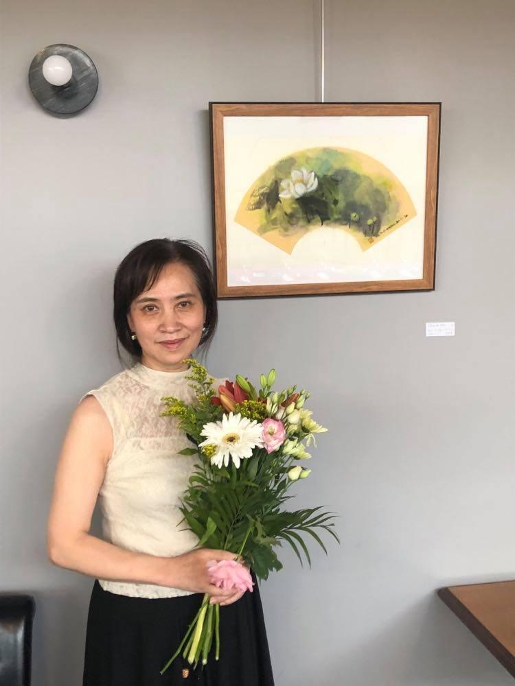 Le vernissage a eu lieu le 8 juillet en présence de l'artiste et l'exposition se tient jusqu'au 31 juillet. Xiao Qing - Photo de Gaelle Gazeu