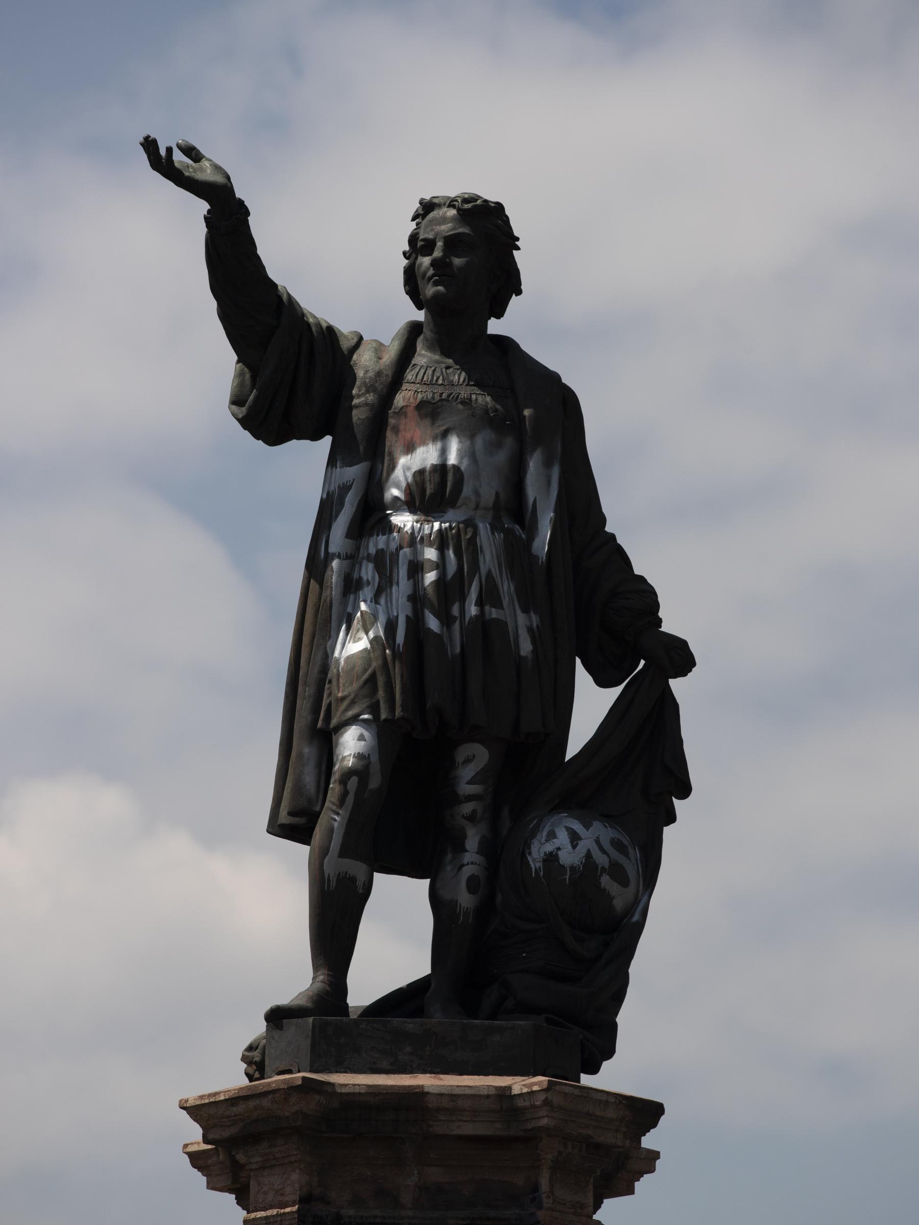 """La statue de Christophe Colomb déplacée """"dans un lieu sûr"""" (c) DR"""