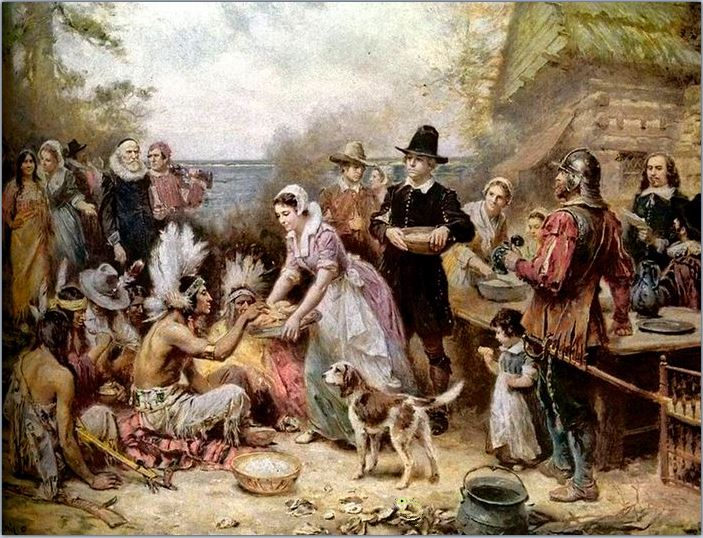 The First Thanksgiving, par Jean Leon Gerome Ferris (1863-1930). Photo du domain public