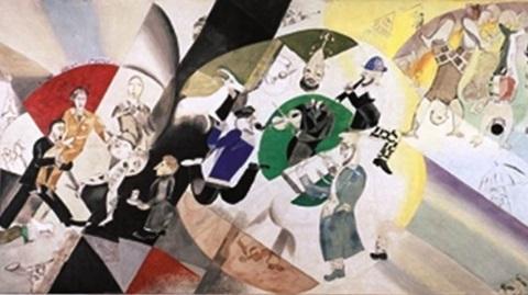 """Extrait du tableau  """"L'introduction au théâtre d'art juif"""" de Chagall. Photo courtoisie (c) DR"""