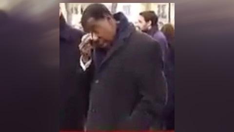 Boni Yayi pleurant à Paris, 12 Janvier 2015