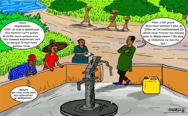 Les membres ACEP face aux difficultés de fonctionnement d'une pompe