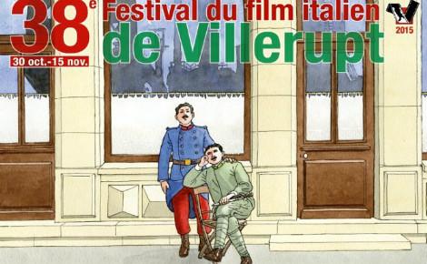 Affiche de la 38e édition du Festival du film italien. Deux soldats de la Grande Guerre sont représentés devant la façade villeruptienne. Photo (c) Baru.
