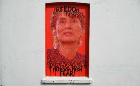 Photo d'une peinture murale représentant Aung San Suu Kyi. Photo (c) Dom Pates