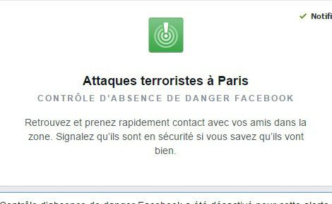 Je suis en sécurité à Paris. Copie écran de l'application Facebook