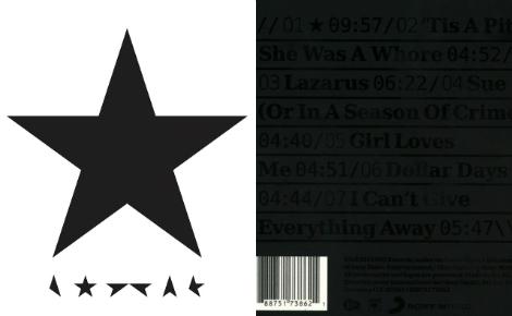 """Couverture de l'album (c) Barnbrook. Cliquez ici pour commander """"Blackstar"""""""