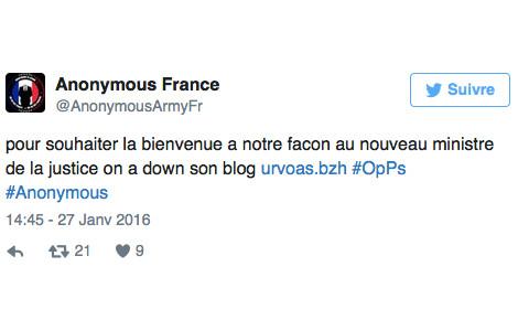 Tweet d'Anonymous France.