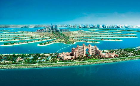 """Le somptueux Hôtel Atlantis se trouve sur l'archipel artificiel des Émirats arabes unis nommé """"Palm Jumeirah"""". Image du domaine public."""
