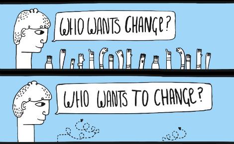 """""""Qui veut du changement?"""" """"Qui veut changer?"""" Illustration (c) Alan O'Rourke"""