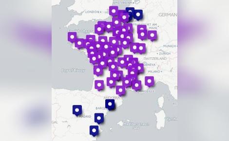 Carte des événements #NuitDebout organisés en France et ailleurs à partir du 9 avril 2016, publiée sur le compte Twitter du mouvement.