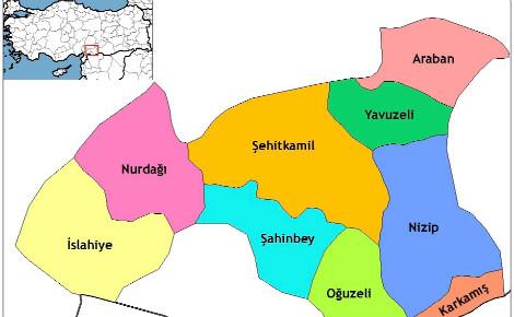 Province de Gaziantep, composée de 9 districts, dans le sud-est de la Turquie. Image du domaine public.