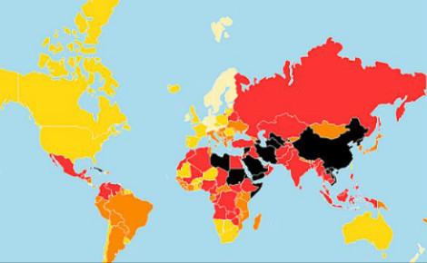 Carte de la liberté de la presse (c) Reporters sans frontières. Cliquez ici pour consulter les détails sur le site officiel