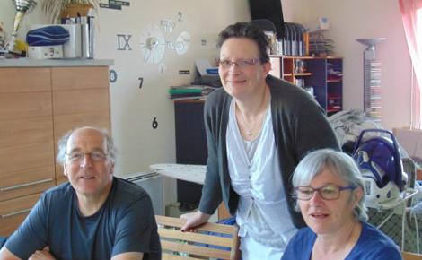 Anne Saudrais et deux hôtes belges, le 26 mai 2016. Photo: G.A.