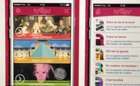 Capture d'écran Artips. En téléchargeant l'application gratuite, les utilisateurs pourront accéder aux 10 meilleurs secrets des grands musées, expos, lieux culturels ou artistes. Cliquez ici pour en savoir plus