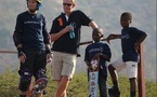 SKATEBOARD LEGEND TONY HAWK PRESENTS NEW 'HALF-PIPE' TO SOUTH AFRICAN CHILDREN