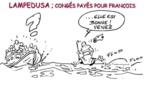 DESSIN DE PRESSE: Le pape François à Lampedusa