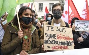 Manifestation contre la précarité étudiante, en mars 2021, à Paris. Bertrand Guay/AFP