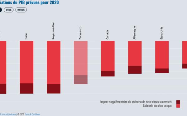L'OCDE prévoit une récession mondiale d'au moins 6% en 2020