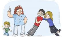 Les enfants, mais aussi les adultes, doivent suivre le calendrier vaccinal. Dessin (c) Guillaume Guedre.